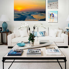 Shown Hung On Wall - Beach Day Combo by Susan Molnar