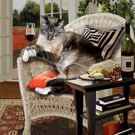 Funny wine bibbing cat by Regina Femrite