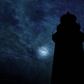 Marty Saccone - Silhouetted By Moonlight West Quoddy Head Lighthouse