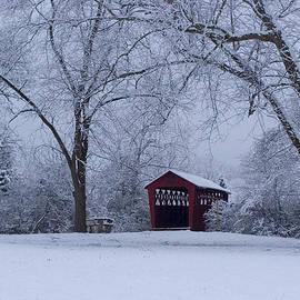 Gene Walls - Snow Adorns The John Burrows Covered Bridge