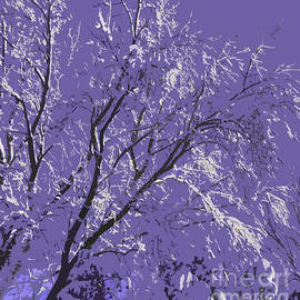 Snow Covered Trees Purple Abstract by Adri Turner