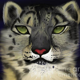 Snow Leopard - the Eyes Have It by Barefoot Bodeez Art