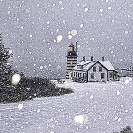 Marty Saccone - Snowing at West Quoddy Head Lighthouse