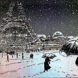 Snowy Evening Eiffel Tower Under Construction by Deb Schense