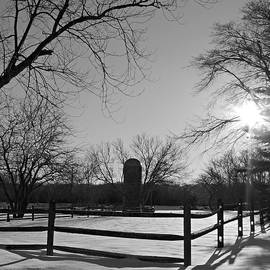Snowy Farm Scene At Seatuck Lane Black And White by Kimberly Perry