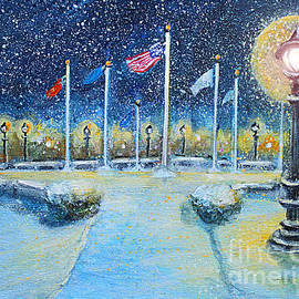 Rita Brown - Snowy Night at the Circle of Remembrance