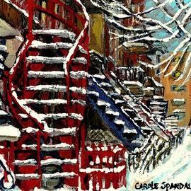 Carole Spandau - Snowy Steps The Red Staircase In Winter In Verdun Montreal Paintings City Scene Art Carole Spandau