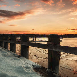 Snowy Sunset In Northport New York by Alissa Beth Photography