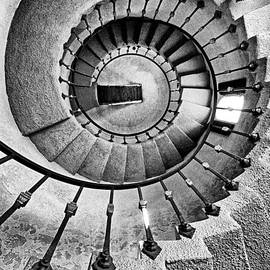 Spiral Castle Stairs In Bw by Paul W Faust -  Impressions of Light