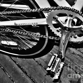 Sprocket and Chain - Black and White by Kaye Menner