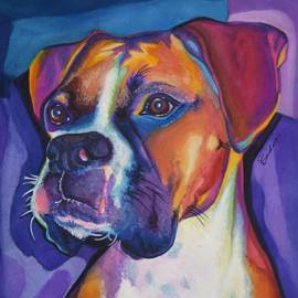 Square Boxer Portrait by Robyn Saunders