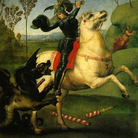 St George And Dragon Reproduction Art Work by Raphael