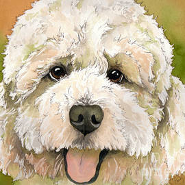 Cherilynn Wood - Standard white Poodle dog watercolor