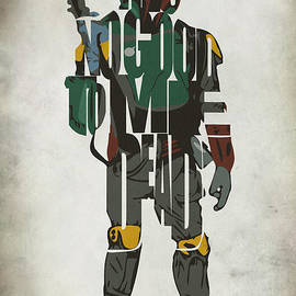 Star Wars Inspired Boba Fett Typography Artwork by Inspirowl Design