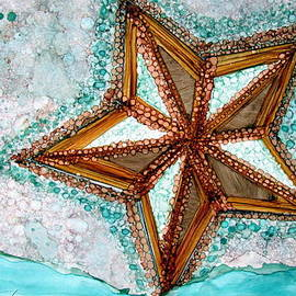 Starfish On The Beach Alcohol Inks by Danielle  Parent