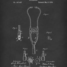 Stethoscope 1882 Patent Art Black by Prior Art Design