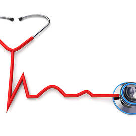 Stethoscope Forming A Heartbeat Shape by Fanatic Studio / Science Photo Library