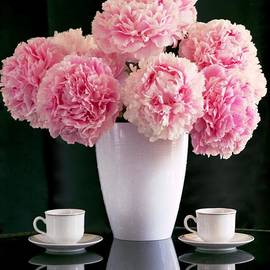 Still life with pink peonies and coffee cups by Peonynursery Com