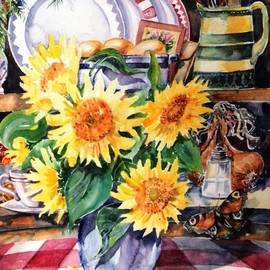 Still lIfe with Sunflowers  by Trudi Doyle