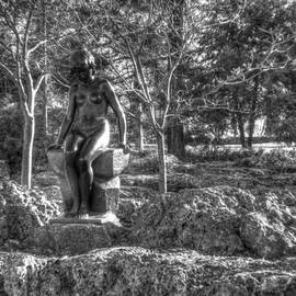 Stone Girl in Winter HDR  Black And White by John Straton