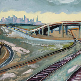 Stormy Train Tracks and San Francisco  by Asha Carolyn Young