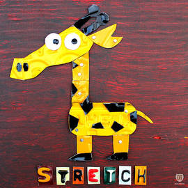 Stretch The Giraffe License Plate Art by Design Turnpike