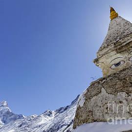 Robert Preston - Stupa and Ama Dablam mountain in the Everest Region of Nepal
