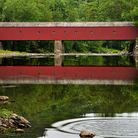 Summer Reflections at West Cornwall Covered Bridge by T-S Photo Art