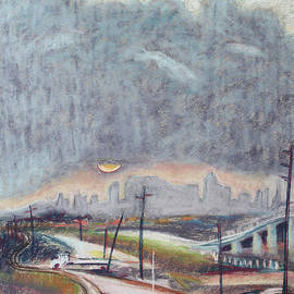 Sun and Clouds over San Francisco with West Oakland Overpass and Tracks by Asha Carolyn Young
