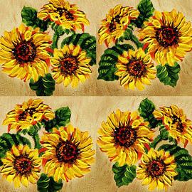 Irina Sztukowski - Sunflowers Pattern Country Field On Wooden Board