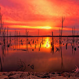 Sunrise at Manasquan Reservior in Howell New Jersey by Geraldine Scull