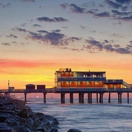 Sunrise at the Pier - Galveston Texas Gulf Coast by Silvio Ligutti