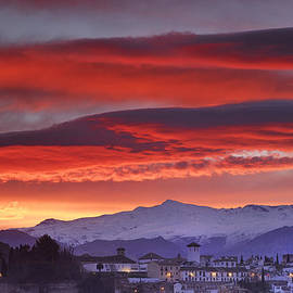 Sunrise over Granada and The Alhambra Castle by Guido Montanes Castillo