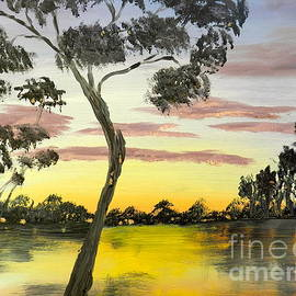 Pamela  Meredith - Sunrise over the Murray River at Lowson South Australia