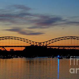 Sunset  At The Arrigoni Bridge. by Marcel  J Goetz  Sr