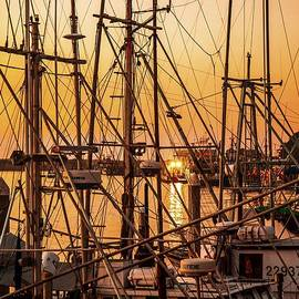 Jerry Cowart - Sunset Boat Masts at Dock Morro Bay Marina Fine Art Photography Print sale