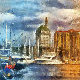 Sunset Harbor View Downtown Long Beach CA 01 Photo Art 01 by Thomas Woolworth