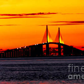 Sunset Over The Skyway Bridge Crop by Barbara Bowen