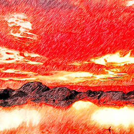 Sunset Pencil Art by Bruce Nutting