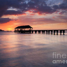 Sunset Pier by Mike  Dawson