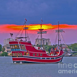 Sunset Pirate Ship by Stephen Whalen