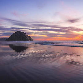 Jerry Cowart - Sunset Reflections at Morro Bay Beach Rock Fine Art Photography Print