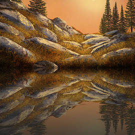 Sunset Spruces Reflections by Frank Wilson