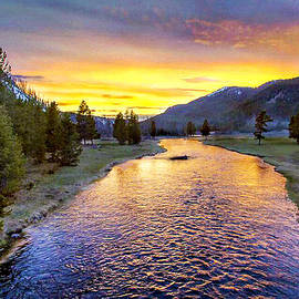 Sunset Yellowstone National Park Madison River by Bob and Nadine Johnston