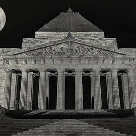 Super Moon Behind Shrine Of Remembrance  by Kim Andelkovic