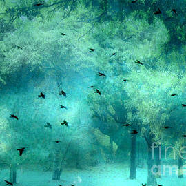 Kathy Fornal - Surreal Fantasy Aqua Teal Woodlands Trees With Ravens Flying