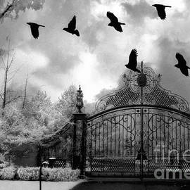 Kathy Fornal - Surreal Gothic Black and White Gate With Flying Ravens