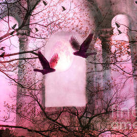 Kathy Fornal - Surreal Pink Fantasy Forest Trees Nature With Flying Ravens