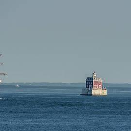 Tall Ship Cisne Branco passes Ledge Light by Marianne Campolongo