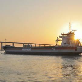 Tanker Heading To Bridge by Bradford Martin